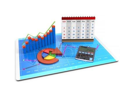 Photo pour Analyse de rendu 3D des données financières dans les graphiques, la comptabilité, le financement des entreprises, les impôts, les banques, les statistiques, la vision d'avenir - image libre de droit