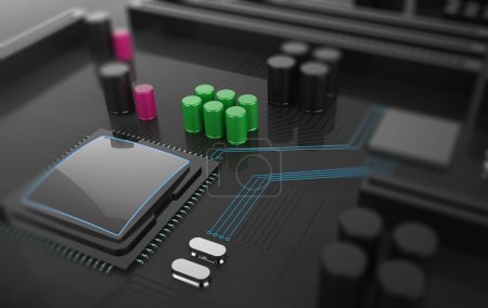 Photo for 3D Illustration, Central Computer Processor CPU concept. technology background. Motherboard with microcircuit, close-up - Royalty Free Image