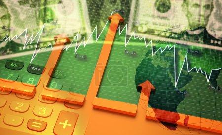 Photo pour Illustration 3D, Analyse des graphiques boursiers de comptabilité financière, économie mondiale en croissance . - image libre de droit