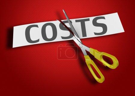 Photo pour Mot du coût de la coupe du papier avec des ciseaux - image libre de droit