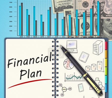 Photo pour Le plan d'affaires financier sur un bureau - image libre de droit