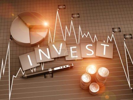 Photo pour Graphique financier de l'investissement et du développement des entreprises - image libre de droit