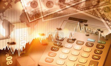 Photo pour Graphique de l'économie mondiale et la monnaie us comme concept de financement - image libre de droit