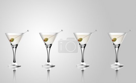Photo for Martini cocktail glass with olives. Realistic mixed alcoholic beverage. - Royalty Free Image