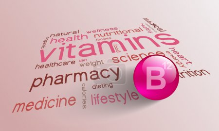 Illustration for Vitamin B 12 element for a healthy life in the word cloud - Royalty Free Image