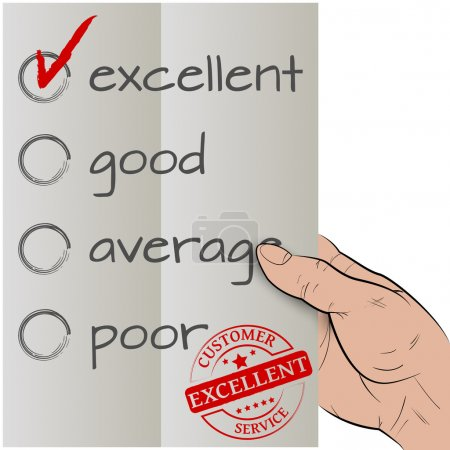 Illustration for Customer satisfaction survey, excellent checked - Royalty Free Image