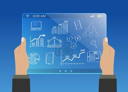 Illustration pour Mains tenant tablette virtuelle moderne, développement des affaires - image libre de droit