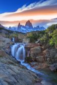 Mt Fitz Roy with a waterfall, Los Glaciares National Park, Argentina