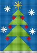 Color vector illustration with digital christmas tree