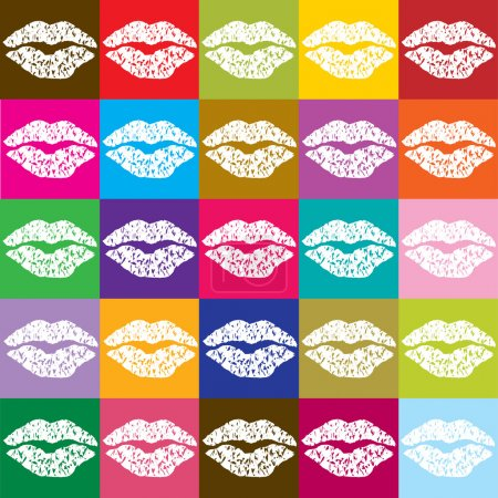 Pop art poster with kisses silhouettes...