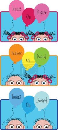 Illustration pour Drôle de fond coloré avec de petits enfants et drôles de ballons avec place pour votre texte - image libre de droit