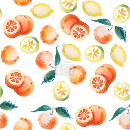 Watercolor drawing set of tropical fruits, citrus ...