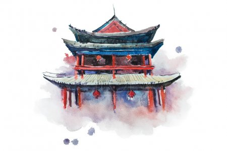 Watercolour painting of Xian fortifications.
