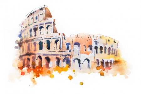 watercolor drawing of Coliseum in Rome