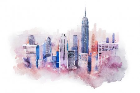 Photo for Watercolor drawing cityscape big city downtown, aquarelle painting - Royalty Free Image