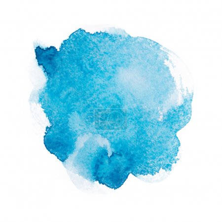 Photo for Abstract watercolor aquarelle hand drawn blue art paint on white background. - Royalty Free Image