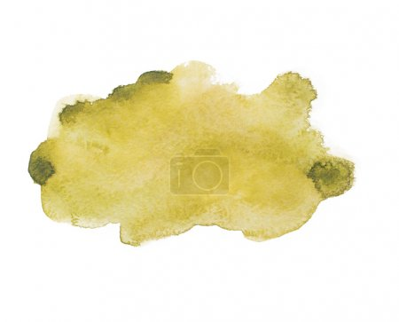 Yellow green colorful abstract hand draw watercolour aquarelle art paint splatter stain on white background