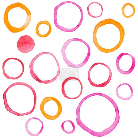 Photo for Hand draw watercolor rings circle round stains art paint. - Royalty Free Image