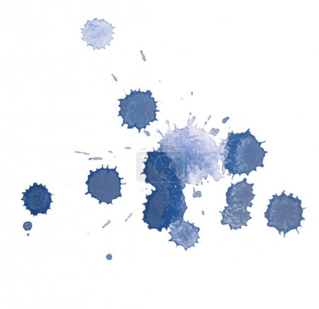 Abstract watercolor aquarelle hand drawn blue drop splatter stain art paint on white background
