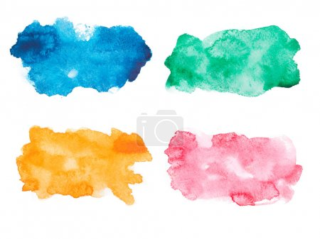 Photo for Abstract watercolor aquarelle hand drawn colorful drop splatter stain art paint on white background. - Royalty Free Image