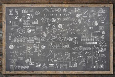 School college chalkboard hand drawn doodle sketch business ecomomic finance elements