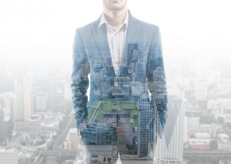 Photo for Double exposure businessman and city - Royalty Free Image