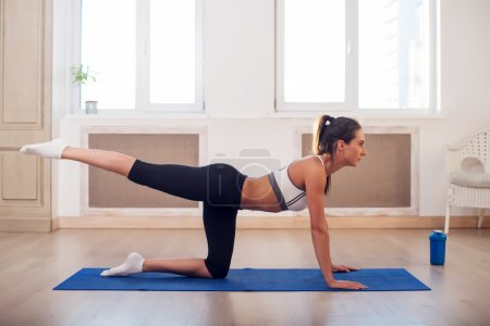 Young active athletic sporty slim woman doing yoga exercise the gym or home in front of windows stretching her leg to back