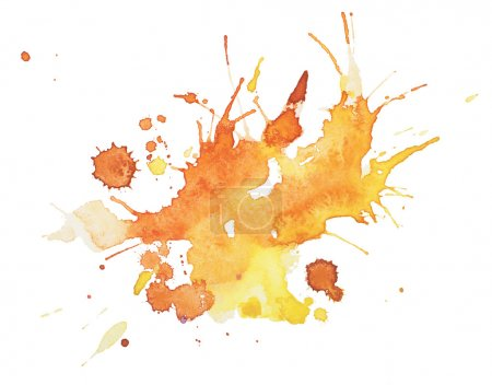 Abstract watercolor aquarelle hand drawn blot colorful yellow orange paint splatter stain