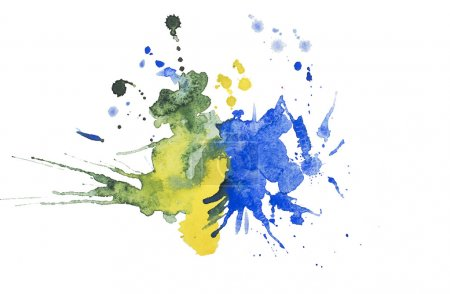 Abstract watercolor aquarelle hand drawn blot colorful yellow blue paint splatter stain