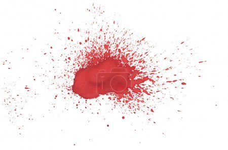 Abstract hand drawn red drop splatter stain blood splash spray art thick paint on white background.