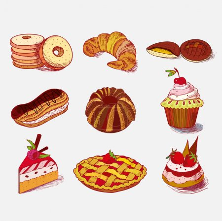 Photo for Hand drawn sketch confections dessert pastry bakery products donut, pie, croissant, cookie - Royalty Free Image