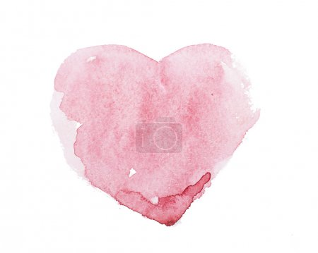 Photo for Watercolor aquarelle hand drawn colorful red heart art color paint or blood splatter stain - Royalty Free Image