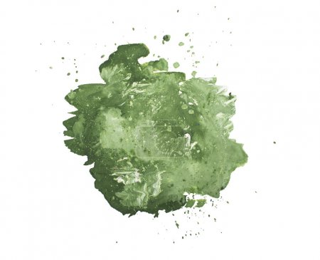 Abstract hand drawn green drop splatter stain art thick paint on white background