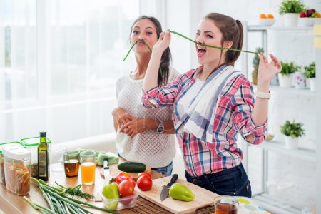 Women preparing healthy food