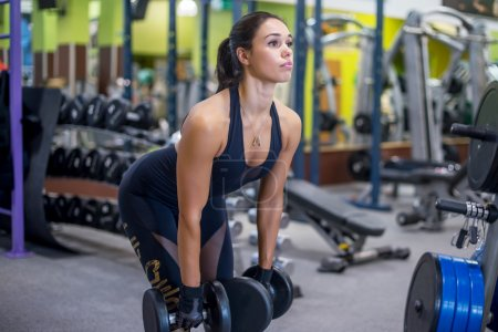 Fit woman fitness deadlift exercise