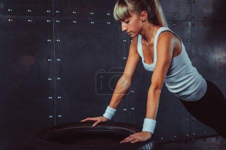 Sportswoman. Fit sporty athlete woman