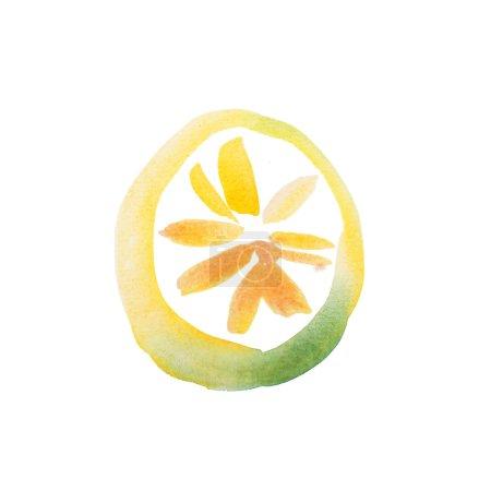 Yellow Lemon Slice Watercolor hand drawn...