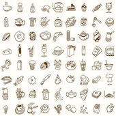 Morning breakfast lunch or dinner kitchen doodle hand drawn sketch rough simple icons coffee tea donut teapot cupcake jam and other sweets