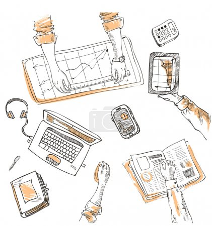 Illustration for Teamwork, top view people hands sketch hand drawn doodle office workplace with business objects and items lying on a desk laptop, digital tablet, mobile phone - Royalty Free Image