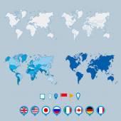 Politický svět mapa a geo značky pin ukazatele značka vektorové ilustrace