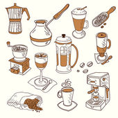 Hand drawn sketch doodle vintage simple coffee theme devices coffeemaking Menu design for cafe and restaurant Vector illustration