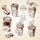 Hand drawn doodle sketch vintage paper cup of coffee takeaway Menu for restaurant cafe bar coffeehouse