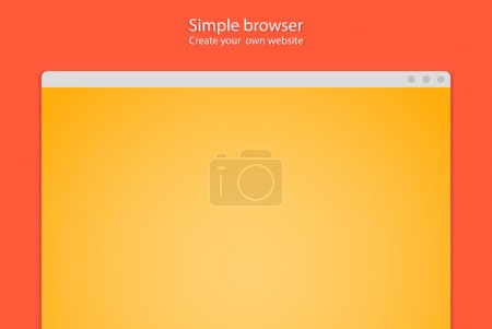 Simple browser window create website on red background