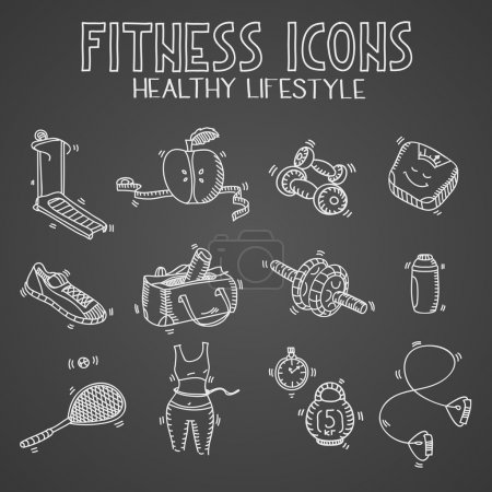Hand drawn doodle sketch icons set fitness and sport concept healthy nutrition lifestyle, diet on blackboard or chalkboard