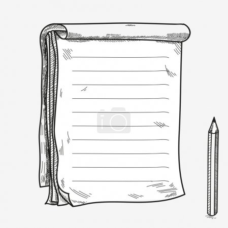 Hand drawn doodle sketch open notebook, clear page, template for notes memo notice comic book scrapbook sketchbook textbook with pencil