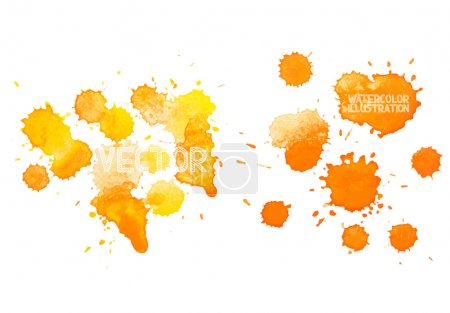 colorful abstract hand drawn watercolour aquarelle yellow orange art drop splatter stain paint on white background