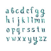 Colorful watercolor aquarelle font type handwritten hand drawn doodle abc alphabet letters vector