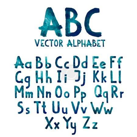 Illustration pour Aquarelle aquarelle aquarelle police type manuscrit dessiné à la main doodle abc alphabet lettres majuscules et vecteur minuscule - image libre de droit