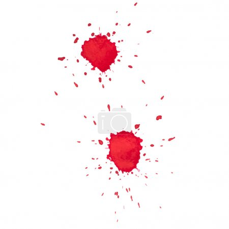 Illustration for Abstract watercolor aquarelle hand drawn red drop splatter stain art paint on white background Vector illustration - Royalty Free Image