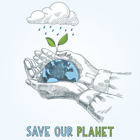 Illustration for Earth globe in human hands planet protection care recycling save ecology concept - Royalty Free Image